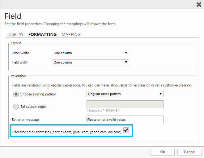Filter freemail provider on ClickDimensions forms